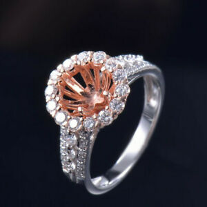 Round 6.5mm Natural VS Diamond Semi Mount Engagement Ring Setting Solid 18K Gold