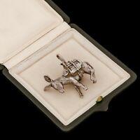 Antique Vintage Deco Retro Sterling Silver Figural Donkey HEAVY Necklace Pendant