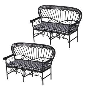 2Pcs 1:12 Dolls House Miniatures Metal Furniture Garden Chair Accessory
