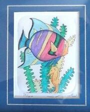 Susan Shepard Original Framed Art Etching Tropical Fish Aquarium Seahorse Sea