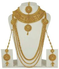 Indian Bollywood Gold Plated Bridal Polki Jewelry Kundan Women Necklace set 2229