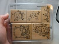 5x Stampin' Up rubber stamps. Christmas. Santa. Reindeer, etc...