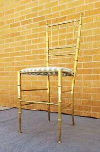 Italian BRASS Chiavari Chair-FAUX BAMBOO-Hollywood Regency-MCM-Bedroom/Vanity