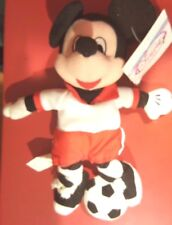 "Disney 8"" Soccer Mickey Mouse  Bean Bag Beanie w/tags Sports no. 28 Red White"