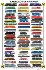 "Railroads of Chicago 11""x17"" Railroad Poster by Andy Fletcher signed"