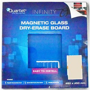 Quartet Infinity Magnetic Glass Board 450 X 450 Blue - Free Postage