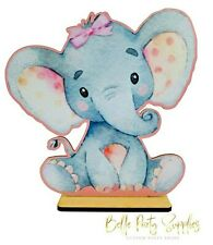 """10"""" Baby Elephant Its a Girl Baby Pink Bow Wood Stand Prop Party Table Decoratio"""