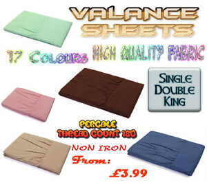 FITTED VALANCE SHEET NON IRON PERCALE PILLOW CASES T180 BEDDING ALL SIZES