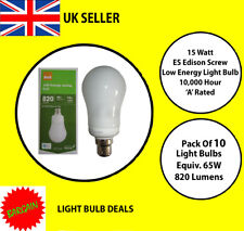 PACK OF 10 X 15 WATT BC LOW ENERGY LIGHT BULB A RATED 10000 HOUR A RATED NEW