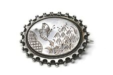 Superb Victorian Antique Sterling Silver Butterfly Design Pin Brooch #27219