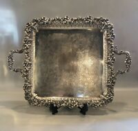 """Rare Sheffield Silver Plate Square Serving Tray with Handles 13"""" x 17"""""""