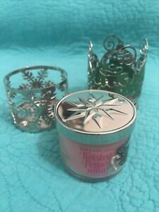 Set Of 3 Bath&Body Works 1.3oz Holiday Candle Holders•Twisted Peppermint Candle