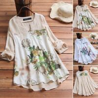 Women's V Neck Casual Floral Print Shirt Tops Asymmetrical Hem Blouse Loose Tee
