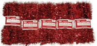 Red Tinsel Garland Christmas Holiday Decoration 12 Ft. Holiday Time Lot of 5 New