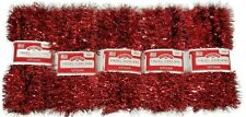 Holiday Time Red Tinsel Garland - 12ft Each -decor Float Christmas