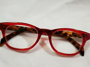 NEW Betsey Johnson Reading Glasses Red and Tortoise Readers