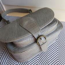 Italy MAURIZIO TAIUTI Handbag Calf Hair Genuine Croc Print Leather Gray Women's