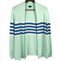 Talbots Womens Open Front Cardigan Size S Striped Long Sleeve Knit Sweater