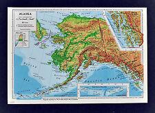 1958 McNally Map - Alaska - Anchorage Seward Juneau Sitka Fairbanks Ketchikan