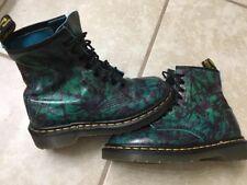 DR. MARTENS VINTAGE ENGLAND Docs Teal Green Purple Leather Boots UK 4 US 6 -6.5