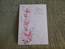 Vintage Birthday Card Gibson 25G 876-7 / Pink Butterflies - SISTER