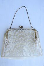 VINTAGE 1950'S JOSEF FRANCE CLEAR VINYL BEADED PURSE HANDBAG