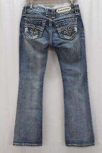 medium wash distressed ROCK REVIVAL Venus boot cut jeans stretch denim 28 x 30