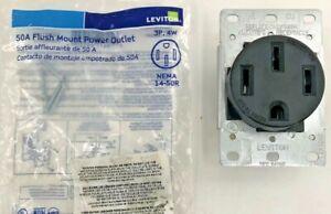 Leviton 50 Amp Flush Mount Shallow Single Outlet, Black / 559