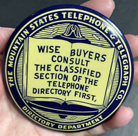 Mountain States Telephone Telegraph Celluloid Paperweight Mirror Advertisin Sign