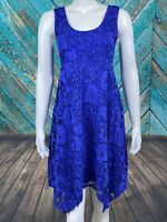 Soma Women's Fit & Flare Dress Small PURPLE Sleeveless Handkerchief Hem Floral