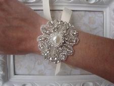 Stile Vintage Cristallo E Perla Strass Sposa Bracciale/polsino