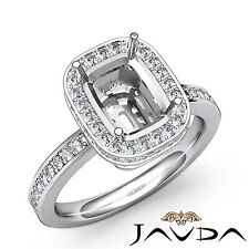 Halo Diamond Engagement Ring Platinum 950 Cushion Semi Mount F-G Color 0.84Ct
