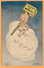 Woman Suffrage Postcard -Kewpie Votes Women for Rose O'Neill Klever Kard Pop-uUp