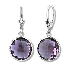 925 Silver Natural Amethyst Dangling Round Drop Earrings Leverback 14K WG Plated