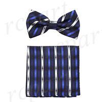 New Men's Pre-tied Bow tie & hankie blue silver stripes striped wedding formal