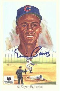 Ernie Banks Signed Autographed 1989 Perez-Steele Postcard Chicago Cubs GV541606