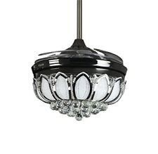Black Retractable Crystal Chandelier Invisble Ceiling Fans with Dimmable LED 42""