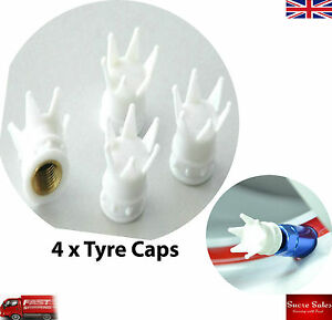 White Crown Car Wheel Tire Tyre Valve Dust Caps Covers Tire Set of 4 UK