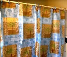 14-Pc Palm Tree Bathroom Fabric Shower Curtain + Liner Set  + 12 Fabric Rings