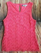 Jennifer Lopez coral lace top blouse M -a12