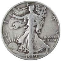 1939 S Liberty Walking Half Dollar VG Very Good 90% Silver 50c US Coin
