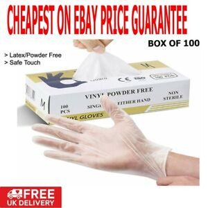 Disposable Vinyl Gloves Powder Latex Free Work Strong Tattoo Food BOX 100