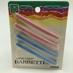 Vintage 1980s Goody Stay Tight Barrettes 3 Inch Pkg 4 Pink Blue NOS