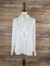 Women's Xs Karl Lagerfield White Long Sleeve Semi Sheer Ruffle Button Down Top