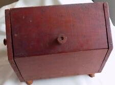 ANTIQUE Country PRIMITIVE Sewing BOX Spool Handles and Feet