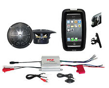 Pyle Bike Bicycle Marine iPod Input Amplifier, Black Round Speakers, Phone Case