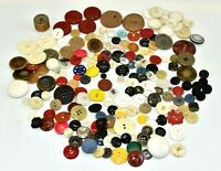 Vintage Old Sewing Crafts Buttons Mixed Lot Huge Various Sizes & Holes Plastic