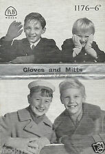 Vintage B&W  Gloves and Mitts For Children  Patons P&B Knitting Pattern Booklet