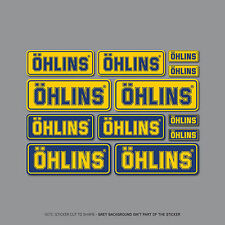 SKU2407 - Set Of 12 Ohlins Stickers - Decals - Motorcycling - Yellow & Blue