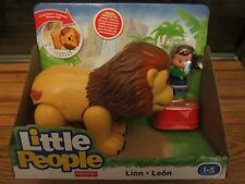Fisher Price Little People NEW Zoo Animal sounds Big Lion Snore sleep Cat Box